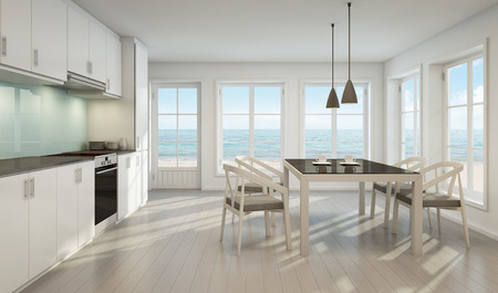 Foto de Sea view dining room and kitchen in beach house - 3D rendering - Imagen libre de derechos