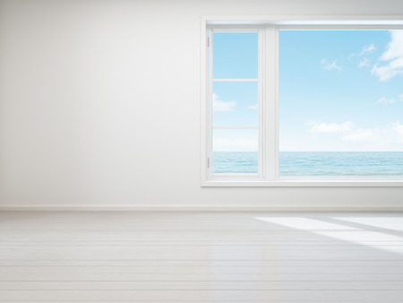 Photo for Vintage white room with  window in new home, Beach house - 3D rendering - Royalty Free Image