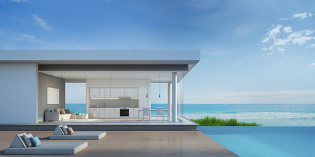 Foto de Luxury beach house with sea view pool in modern design - 3d rendering - Imagen libre de derechos