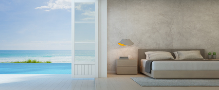 Sea view bedroom with terrace in luxury beach house, Modern interior of pool villa - 3D rendering