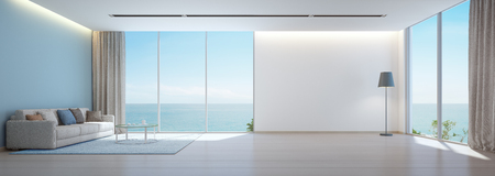 Photo pour Sea view living room with wooden floor and empty white wall background in luxury beach house, Modern interior of vacation home - Office lounge 3D rendering - image libre de droit