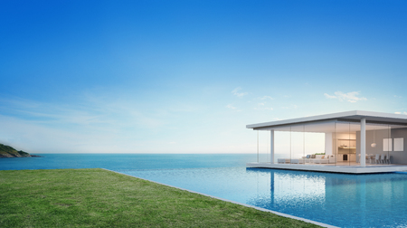 Foto de Luxury beach house and sea view swimming pool near empty grass floor deck in modern design, Vacation home or hotel for big family with blue sky background - 3d illustration of holiday villa exterior - Imagen libre de derechos