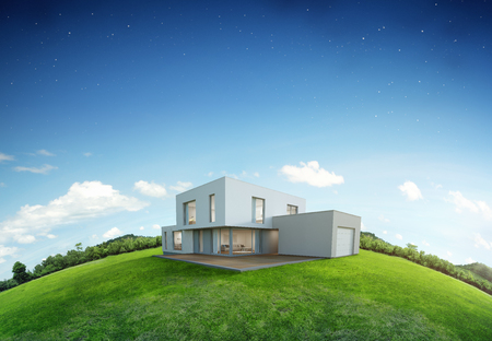 Foto de Modern house on earth and green grass with blue sky background in real estate sale or property investment concept, Buying new home for big family - 3d illustration of residential building exterior - Imagen libre de derechos