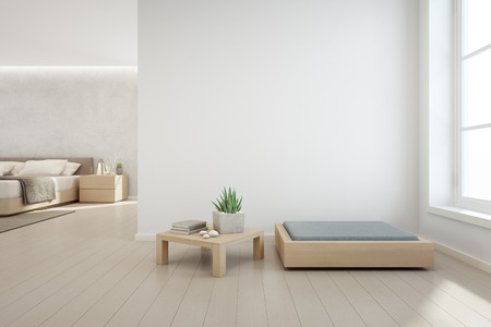 Photo pour Indoor plant on wooden coffee table and modern furniture with empty white concrete wall background, Bedroom near living room in scandinavian house - 3d illustration of home interior - image libre de droit