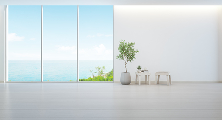 Photo for Indoor plant on wooden floor and minimal furniture with empty white wall background, Lounge in sea view living room of modern luxury beach house or hotel - Home interior 3d illustration - Royalty Free Image