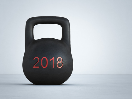 New year 2018 with black kettlebell on white floor and wall at gym in fitness concept. Abstract background 3d illustration.