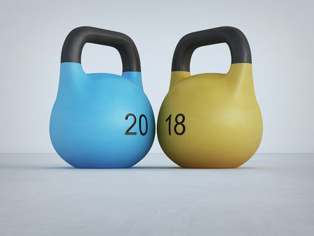 New year 2018 with kettlebell on white floor and wall at gym in fitness concept. Abstract background 3d illustration.