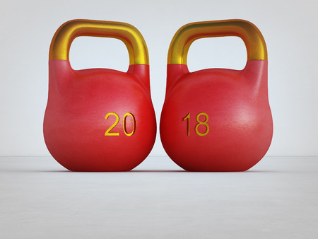 Chinese new year 2018 with gold ingots in healthy and wealthy concept. 3d illustration of kettlebell on white wall background at gym.