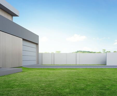 Foto de Modern house and green grass with blue sky background in real estate sale or property investment concept. Buying new home for big family. 3d illustration of residential building exterior. - Imagen libre de derechos