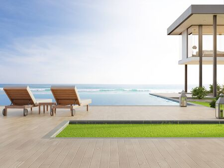 Photo pour Luxury beach house with sea view swimming pool and terrace in modern design. Lounge chairs on wooden floor deck at vacation home or hotel. 3d illustration of contemporary holiday villa exterior. - image libre de droit