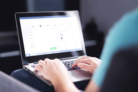 Foto de Personal information to shop online. Filling electronic form on internet with laptop. Digital customer info on website. Man buying a service or ordering a product. Web data protection in e commerce. - Imagen libre de derechos