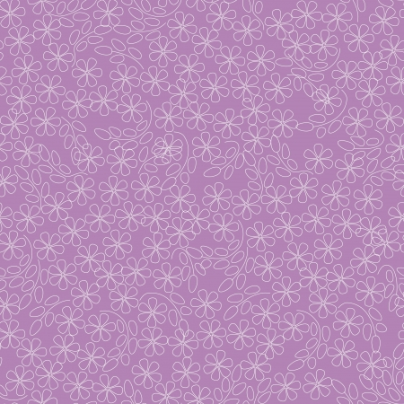 floral seamless pattern with white outline flowers on pink background