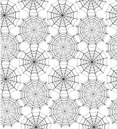 Web seamless pattern on white background  Halloween texture