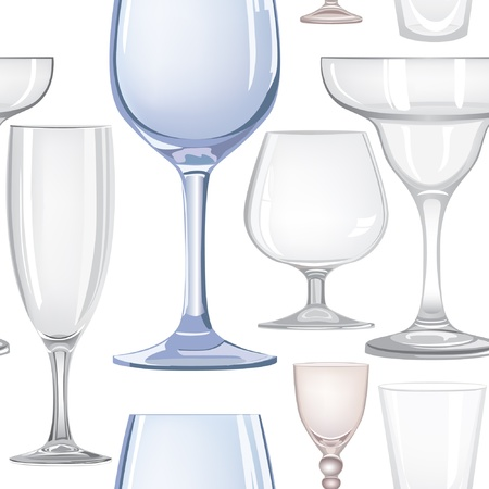 Alcohol and drink glasses seamless background