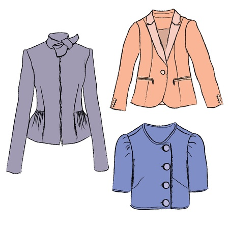 Woman fashion jacket colorful illustration  Template