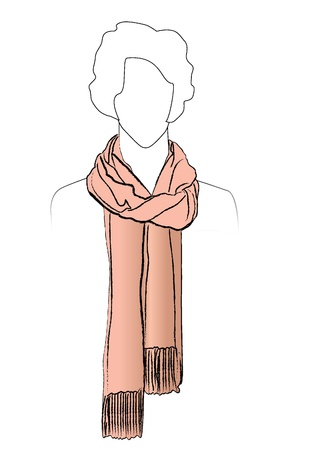 Neckerchiefs tied  Illustration of woman wearing scarf