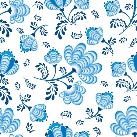abstract floral seamless pattern  blue flowers on white background  in russian style Gzhel