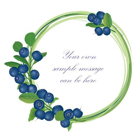 Illustration pour Blueberry frame   Billberry bush border   Summer greeting card  - image libre de droit
