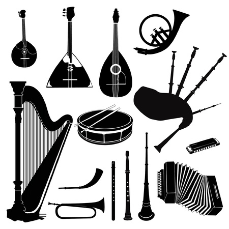 Music instruments vector set  Musical band equipment