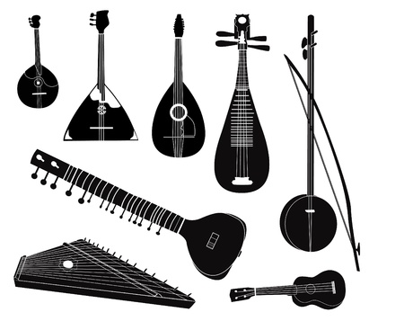 Ethnic music instruments set on white background