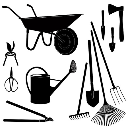 Illustration pour Gardening tools isolated on white background  Garden equipment silhouette  set   - image libre de droit