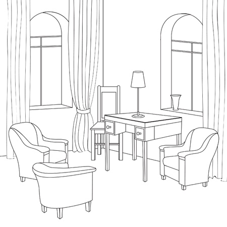 Editable vector illustration of an outline sketch of a interior  Graphical hand drawing interior  Cabinet