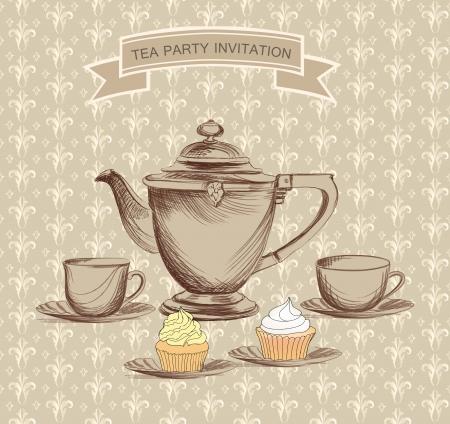 Foto de Tea time retro label  Tea cup and pot label in vintage style   - Imagen libre de derechos