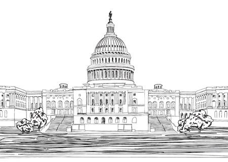 Washington DC Capitol landscape, USA  Hand Drawn Pencil Vector Illustration