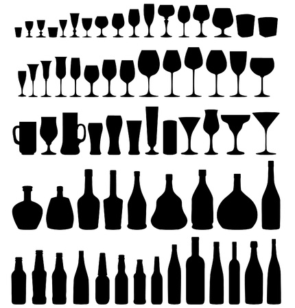 Illustration pour Glass and bottle vector silhouette collection  Set of different drinks and bottles isolated on white background   - image libre de droit