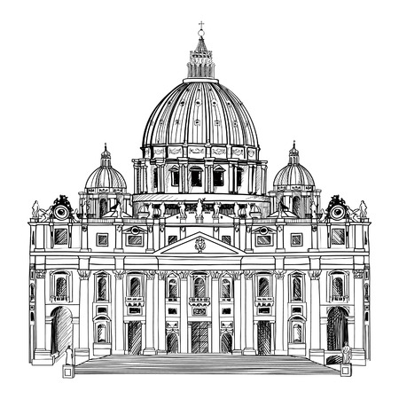 St  Peter s Cathedral, Rome, Italy  Hand drawn vector illustration isolated on white background