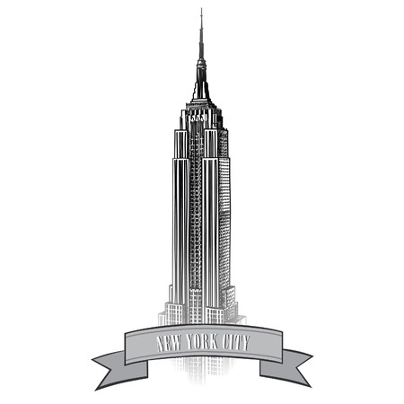 New York City label with Empire State Building  NYC travel icon