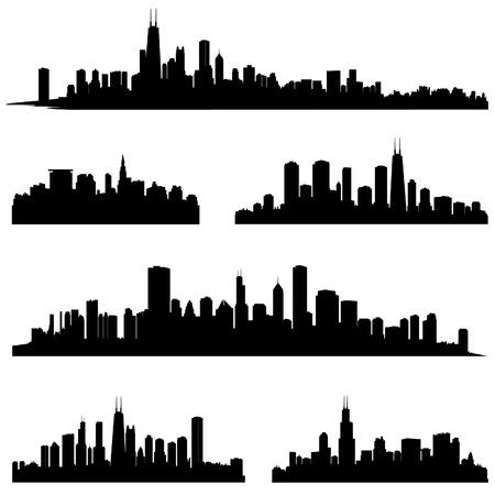 City silhouettes  Chicago Illinois various skyline silhouette set  Panorama city background  Urban skyline border collection