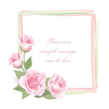 Flower rose frame isolated on white background   Rose posy decor