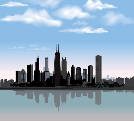 Illustration pour Chicago city skyline detailed silhouette with reflection in water  Illinois Vector illustration  - image libre de droit