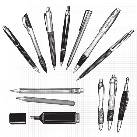 Pen set  Hand drawn vector  Pencils, pens and marker collection isolated on white