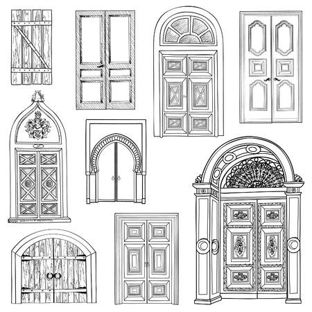 Door set. Collection of hand drawn sketch vintage doors.
