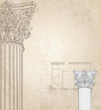Classic columns seamless background. Roman corinthian column. Illustration on white background for design sketch