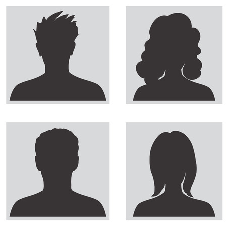 Avatar collection, People profile silhouettes