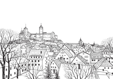 Old city view. Medieval european castle landscape. Pensil drawn vector sketch