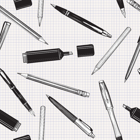 Pen set seamless pattern. Hand drawn vector. Pencils, pens and marker collection isolated over paper tiled background.