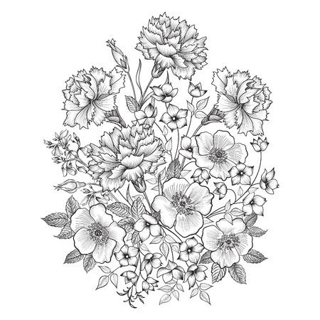 Illustration pour Flower bouquet. Floral frame. Flourish greeting card. Floral vintage cover. Flourish card with copy space. - image libre de droit