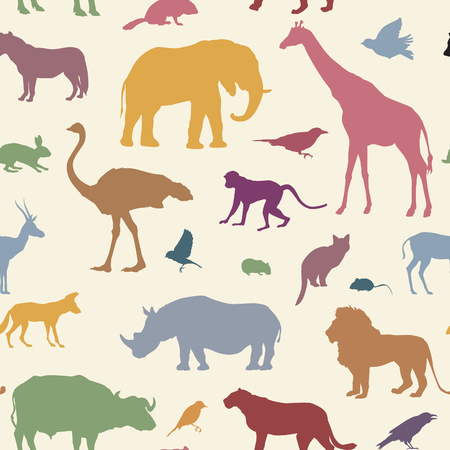 Illustration for Animals silhouette seamless pattern. Wildlife tiled textured backgroun. African animals seamless pattern - Royalty Free Image