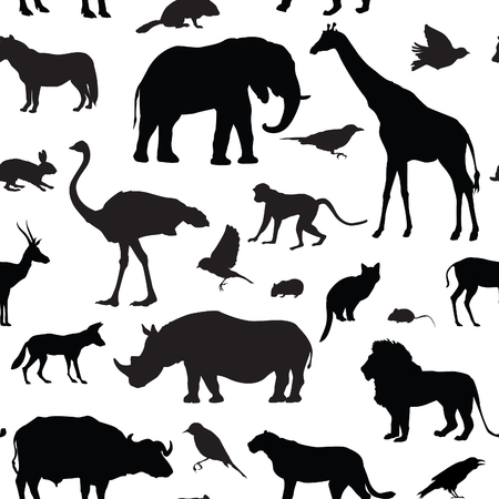 Photo pour Animals silhouette seamless pattern. Wildlife tiled textured backgroun. African animals seamless pattern - image libre de droit