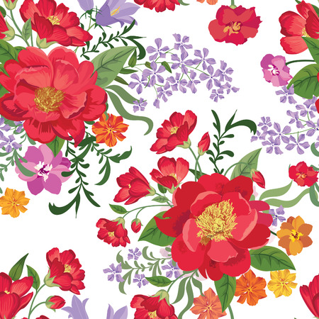 Floral seamless pattern. Flower background. Floral tile spring texture with flowers. Spring flourish garden