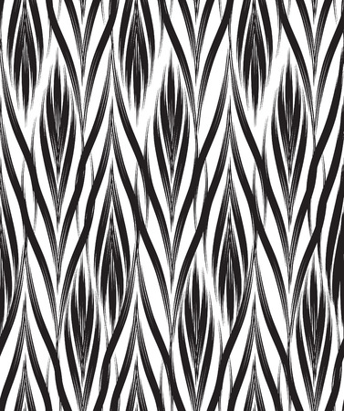 Ilustración de Abstract seamless pattern with black and white line ornament Swirl geometric doodle texture. Ornamental floral optical effect background. - Imagen libre de derechos
