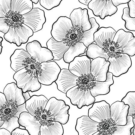 Ilustración de Floral seamless pattern. Flower background. Flourish sketch black and white texture with flowers daisy. - Imagen libre de derechos