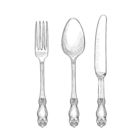 Fork, Knife, Spoon sketch set. Cutlery hand drawing collection. Catering engraved vector illustration. Restraunt  symbol