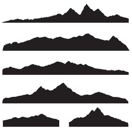 Illustration pour Mountains landscape silhouette set. Abstract high mountain border background collection - image libre de droit