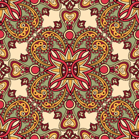 Illustration for Flourish tiled floral geometric seamless pattern. Abstract oriental background. Fantastic flowers and leaves. Wonderland ornament motives of the paintings of arabic mandala. Indian fabric pattern. - Royalty Free Image