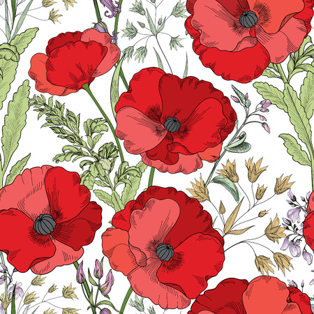 Floral seamless pattern. Flower poppy background. Flourish tiled ornamental texture with flowers. Spring floral gardenのイラスト素材